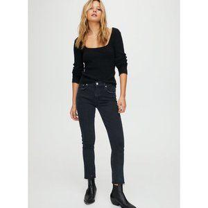 AGOLDE Toni Mid Rise Straight Jeans, Black, Sz 29